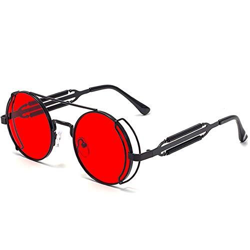 SHEEN KELLY Retro Gothic Steampunk Sonnenbrille für Frauen Männer Runde Linse Metallrahmen Sonnenbrille John Lennon Runde Sonnenbrille