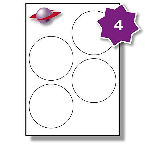 4 Pro Blatt, 10 Blätter, 40 Etiketten. Label Planet® A4 Runden Schlicht Weiß Matt Papier Etiketten Für Tintenstrahl und Laserdrucker 100mm Durchmesser, LP4/100 R.