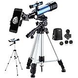 Aomekie Telescopios para Niños Telescopio Astronómico Portátil Ultra Claro con Adaptador de Teléfono 10X Mochila Buscador de Trípode Ajustable Filtro de Luna y Lente Barlow 3X
