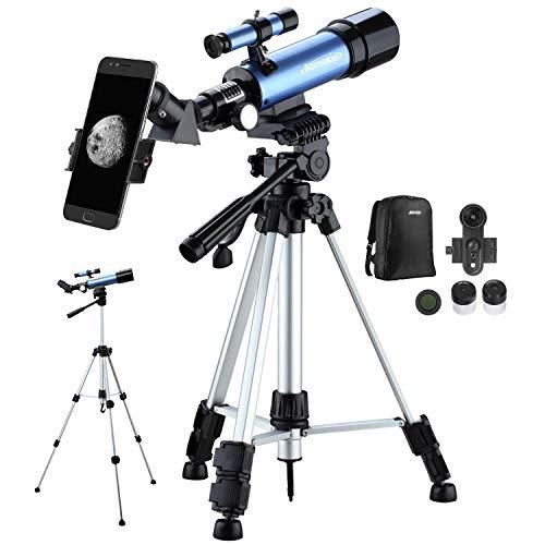 Telescopio Astronómico para Niños Refractor Telescopio Portátil Ultra Claro con Adaptador de Teléfono 10X Mochila Buscador de Trípode Ajustable Filtro de Luna y Lente Barlow 3X