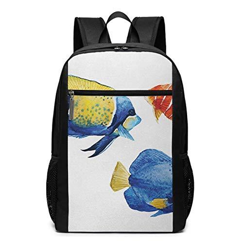 Schulrucksack Aquarium Life Discus Fish Goldfish, Schultaschen Teenager Rucksack Schultasche Schulrucksäcke Backpack für Damen Herren Junge Mädchen 15,6 Zoll Notebook