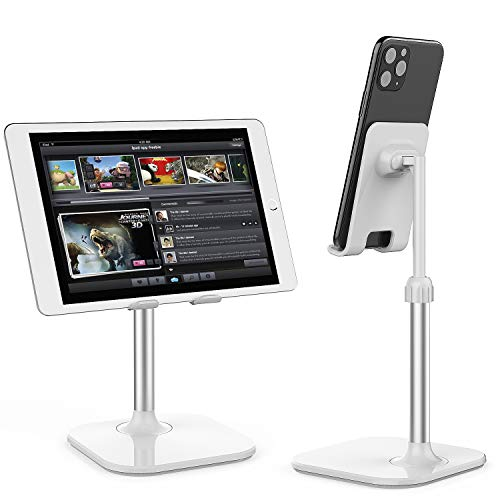 Cell Phone Stand,Phone Holder for Desk Adjustable Tablet Stand Compatible with iPhone and All Smartphone (White)