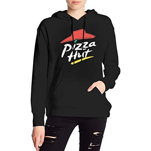 GUANGZHOUHONGYUAN Pizza hut Woman Sweater Fashion Loose Soft Hoodie Black
