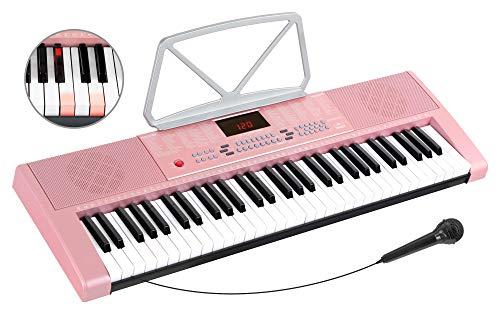 McGrey LK-6120-MIC Keyboard - Einsteiger-Keyboard mit 61 Leuchttasten - 255 Sounds und 255 Rhythmen - 50 Demo Songs - Inklusive Mikrofon - Pink