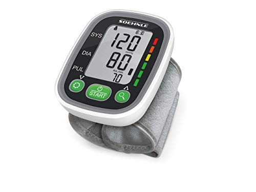 Soehnle Systo Monitor 100 - Tensiometro de muneca, ritmo cardiaco, presion arterial, sensor de movimiento, color gris (68095)