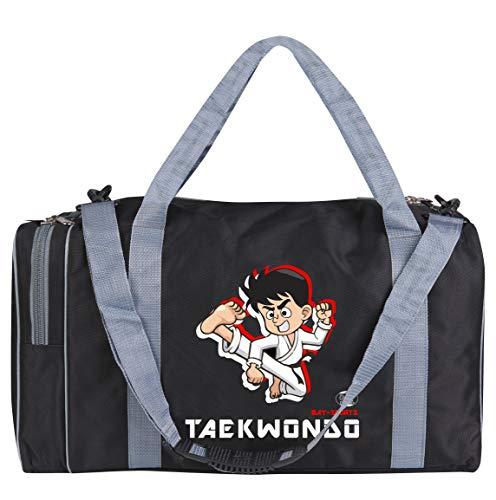 BAY-Sports Sporttasche Taekwondo TKD Tae Kwon Do, Kinder Kids small klein Taschen Bag, schwarz grau, Trainingstaschen Sporttaschen Thaiboxtasche