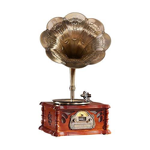 ALIZJJ Reproductor de grabación Gramófono Altavoz Retro Vinilo Grabador Electro fonógrafo Sala de estar de estilo europeo Muebles para la casa Decoración de la vendimia (Color: Marrón, Tamaño: 46x39x8