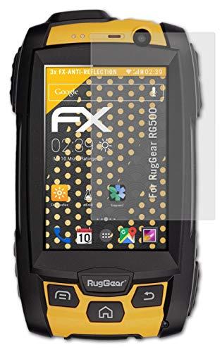 atFolix Panzerfolie kompatibel mit RugGear RG500 Schutzfolie, entspiegelnde & stoßdämpfende FX Folie (3X)
