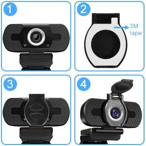 LarmTek Full Hd Webcam 1080p Videokamera mit Webcam Abdeckung,USB Webcam mit Eingebautes Mikrofon,Mini Plug und Play für Desktop, Notebook,Pc,Ideal für Konferenzen,Live Ubertragungen und Video Anruf