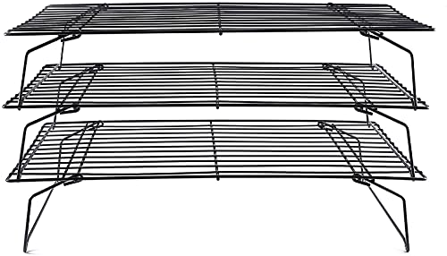 Cooling Rack, 3-Tier Stainless Steel Stackable Baking Cooking Cooling Racks for Cooling Roasting Grilling, Collapsible & Heavy Duty, Oven & Dishwasher Safe