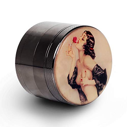 Pin Up Girl Grinder Titanium Premium Herb Grinder 2.2' Wide Black