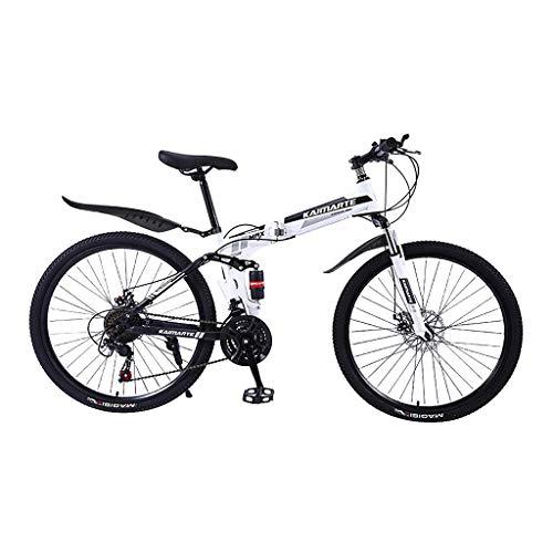 Mountainbikes 24 Zoll Faltbares Outroad Klappräder Rennräder Variable Geschwindigkeit Doppelt Scheibenbremse Erwachsene Fahrrad (Weiß)