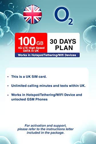UK O2 100GB 4G LTE High Speed Data Prepaid SIM Card with...