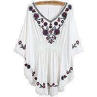 Blusa para Mujer Bordados Vestido Étnico Mexicano con Florales Cuello Moda Completi En V Mangas 3/4 Boho Mini Vestido Elegante Loose Moderno Vestidos De Playa Sundress