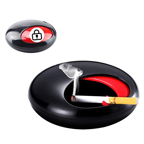 QUANS 灰皿 はいざら ふた付き 蓋つき 外用 おしゃれ 車 テーブル 卓上灰皿 回転 滑り防止設計 大容量 耐高温 防風防雨 屋外 メラミン製 創意 現代 デザイン 小物入れ (A-ブラック)