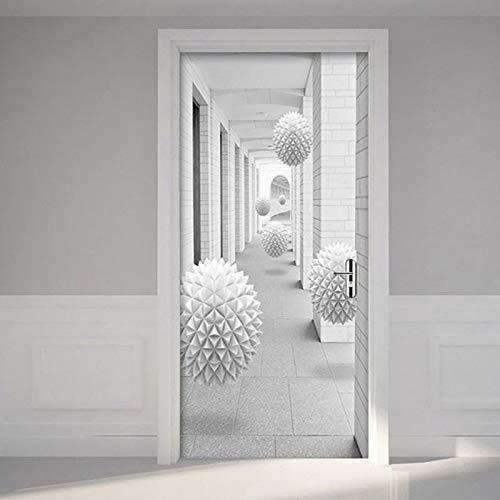 Papel pintado de foto moderno pegatinas de puerta de globo estéreo 3D galería de sala de estar pegatinas de pared impermeables de PVC pegatinas de pared de vinilo