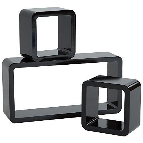 TecTake 800706 3er Set Wandregal Hängeregal im Retro Cube Design für Bücher CDs Deko, inkl. Montagematerial - Diverse Farben - (Schwarz | Nr. 403190)