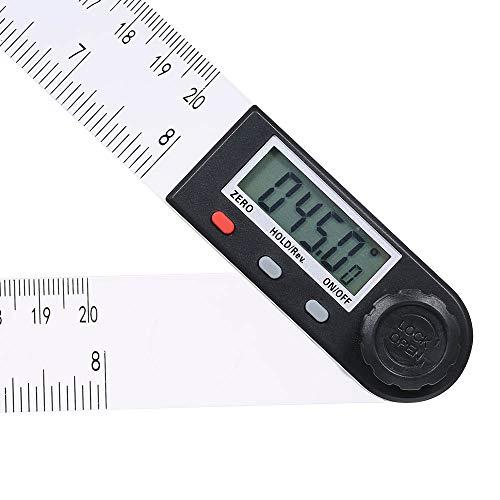 Fesjoy Regla de ángulo de Pantalla LCD Digital Multifuncional de 0-200 mm Herramienta de medición de transportador de goniómetro electrónico de 360 ° con función de retención y Puesta a Cero