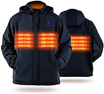 Iurek Unisex Heated Jacket with 10000mAh Battery Pack and Hood