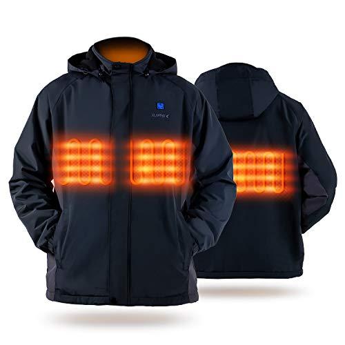 Heated Jacket, IUREK Unisex Heated Jacket with 7.4V 10000mAh Battery Pack and Detachable Hood ZD960 Medium Black
