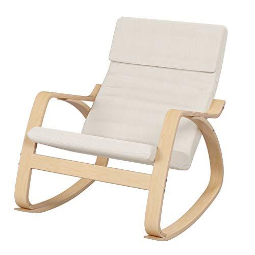 HOMECHO Schaukelstuhl Schwingsessel Relaxstuhl, Belastbarkeit 150 kg, Gestell aus Birkenholz, Bezug aus Leinenimitat, für Wohnzimmer Balkon Beige
