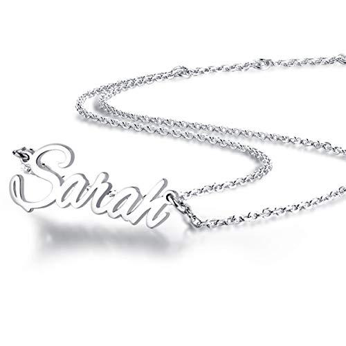 MissChic Namenskette, Silber Personalisierte Kette,18K Rosegold/Gold Vergoldet Kette mit Name, Geschenk für Freuen, Herren, Freundin, Mutter, Schwester