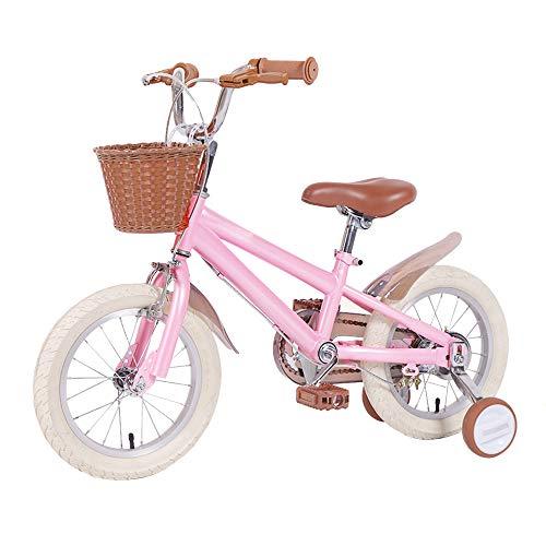 Kids Bikes Bicicleta Infantil Chico 14 16 18in con Ruedas De Entrenamiento Freno En V Niña Princesa 3 4 7 Años Ajustable Bicicleta para Niños Color Múltiple con Cesta(Size:14in,Color:Rosado)