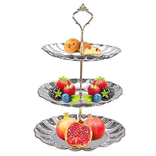 Elinala Soporte para Tartas, Bandeja de Tartas, Estante Desmontable Multifuncional Redondo de Acero Inoxidable Plateado para Té de la Tarde, Tartas, Frutas, Dulces (3 Niveles)