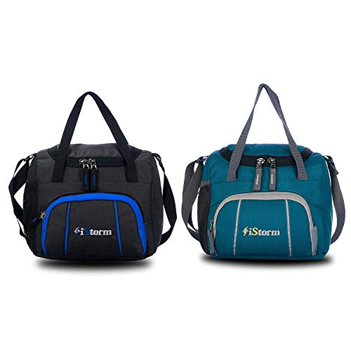 iStorm Polyester Lunch Bag/Tiffin Bag for Lunch Box (Black & Sea Green, Pack of 2)