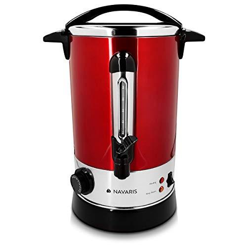 Navaris Glühweinkocher Heißwasserspender aus Edelstahl - 6,8l - mit Thermostat Füllstandanzeige Zapfhahn - Glühwein Heißgetränkeautomat Rot