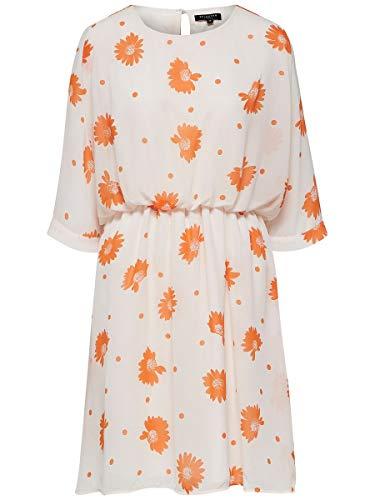 SELECTED FEMME SLFORIANA 3/4 Short Dress B Vestido, Multicolor (Heavenly Pink AOP:...