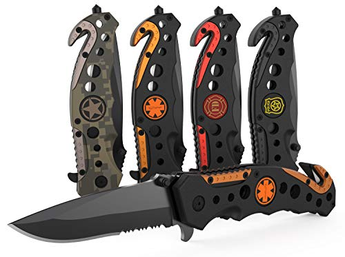 3-in-1 EMT/EMS Tactical Knife for First Responders with Window Glass Breaker, Seatbelt Cutter and Steel Serrated Blade