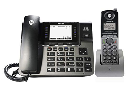 Motorola ML1250 DECT 6.0 Expandable 1 to 4 Lines Business Phone System with Voicemail, Digital Receptionist and Music on Hold, Black, Corded Base Station & 1 Wireless Handset