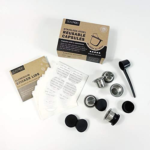 Wiederverwendbare Nespresso-Kapseln - Sealpod Edelstahl nachfüllbare Kapseln für Nespresso-Maschinen (OriginalLine-kompatibel) (5 Kapseln, 120 Lids) (EINWEG)
