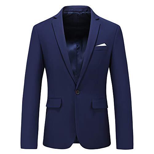 Newbestyle Men's Sports Notched Collar 2 Button Slim Distressed Denim Blazer Jacket Leather Trim Blue Black XS