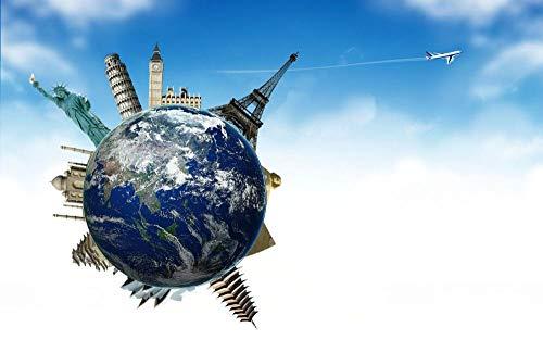 Jigsaws Puzzel,Puzzels Planeet Hemel Aarde Vliegtuig Wereldbol Reizen,Diy Houten Puzzle 500 Stukjes, Legpuzzels Voor Volwassen Kinderspeelgoedspel (52 * 38Cm)