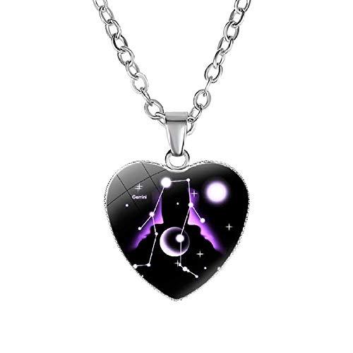 Constelaciones Collares,12 Gemini Zodiac Corazón Colgante Collar Twleve Constelación Declaración Collares para Mujeres Regalos De Fiesta De Boda