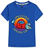 Silver Basic Among Us Camiseta para Niño Tamaño de los Niños Camiseta Casual de Verano Videojuego Among Us Cosplay Ropa Top 140,5178Azul-3