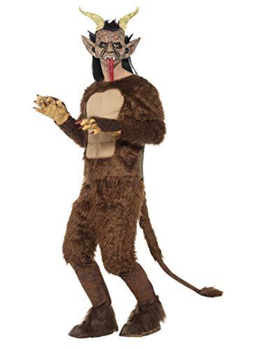 Halloween! Smiffys Deluxe Bestien/ Krampus-Dämon Kostüm, Samtfell, Braun, Muskelbrust-Oberteil, Hose mit Polsterung Schwanz, Maske, Handschuhe und Hufe