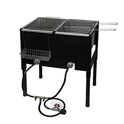 Barton High-Pressure Freestanding Triple Basket Deep Fryer Dual Burner Propane Fish Cooker Fry Basket Fryer