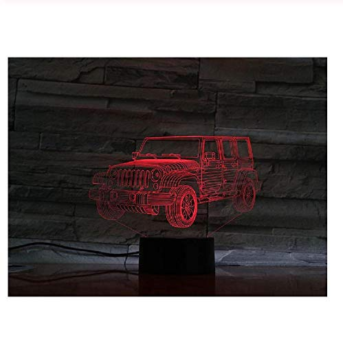 Led 3D Night Light Jeep Car Off-Roader Lámpara 3D Linterna Regalos Para Niños Regalo Creativo 3 Pilas Aa Cable Usb Led Alimentado