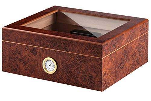 Gastro-Humidor, Zigarren-Humidor mit Sichtfenster | für ca. 22 Robustos, 36 Cohiba Esplendidos, 72 Panetelas | 107 x 262 x 200 mm | MDF-Holz, Spanisches ZEDERNHOLZ, Dekor: Nussbaum | von bong-discount