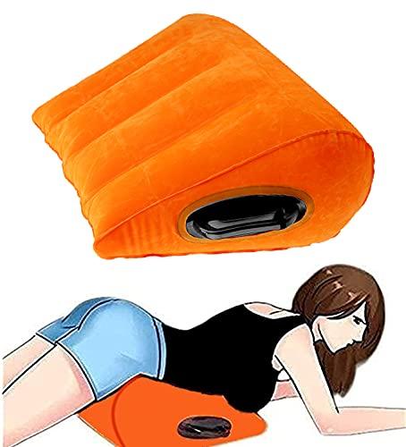 Autozon Cojín Lumbar Inflable del triángulo con la Almohada de la Postura de la Almohada de la Yoga del Viaje de la manija