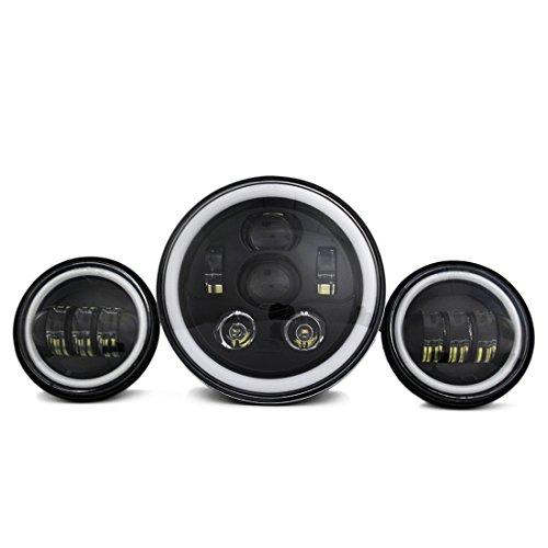 7 pouces de Phares à DEL noirs + 4,5 pouces de phares antibrouillard pour motos Harley-Davidson Road King