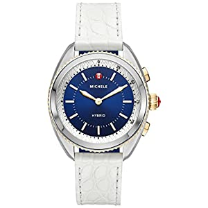 MICHELE Women's Hybrid Smartwatch- Two-Tone Navy Dial White Alligator And Navy Silicone Hybrid Smartwatch MWWT32A00008
