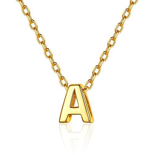 Silvora Colgantes Iniciales A Collar Letras pequeña Oro Plata Colgante Mujer Letra de Oro Enchapado
