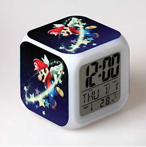 XINKA Reloj Super Mario Super Mario Bros Reloj Despertador para niños Reloj Digital Reloj Despertador con luz Reloj Despertador Mesa Reveil Desk Wekker
