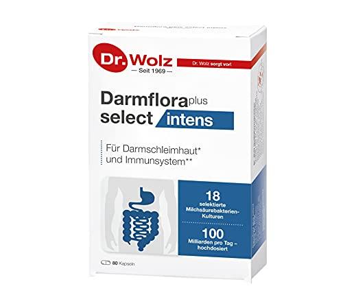 Darmflora plus select intens von Dr. Wolz, hochdosierte Bakterienkulturen, mit Vitamin B6 und B12, unterstützt gesunde Schleimhäute, 80 Kapseln