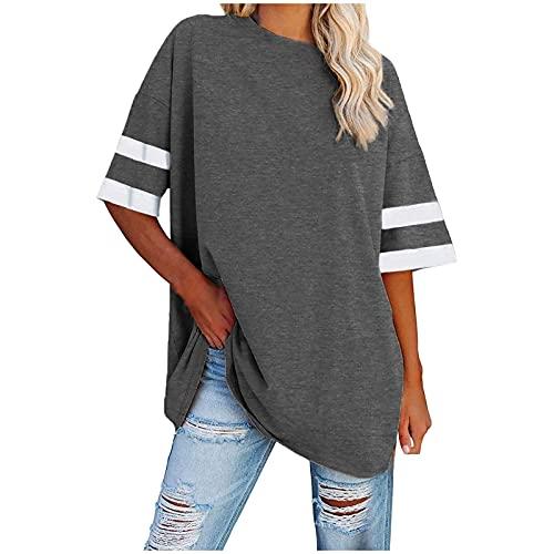 BUDAA Damen Lose Tops Rundhals Einfarbig Streifen Ärmel Pullover Falten Tunika Casual Sommer Straße T Shirts Strand Tee, grau, X-Large
