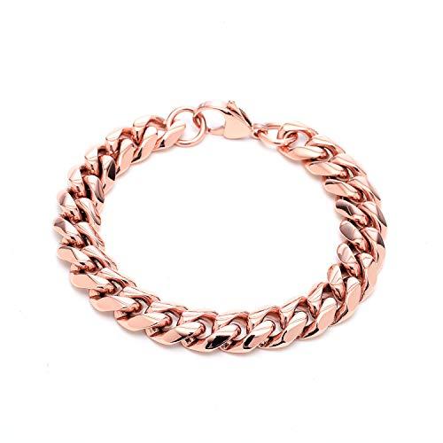 Solnique - Pulsera de mujer chapada en rosa, personalizable con cadena de acero y cierre de mosquetón 18cm rose